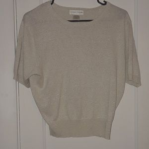 Casual Corner Vintage Cream S/L Shimmer Sweater